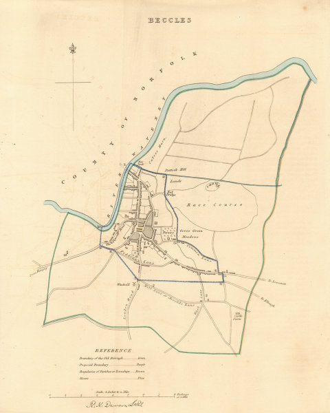 Associate Product BECCLES borough/town plan. BOUNDARY REVIEW. Suffolk. DAWSON 1837 old map