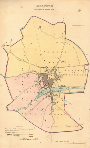Associate Product BEDFORD borough/town plan. BOUNDARY REVIEW. Bedfordshire. DAWSON 1837 old map