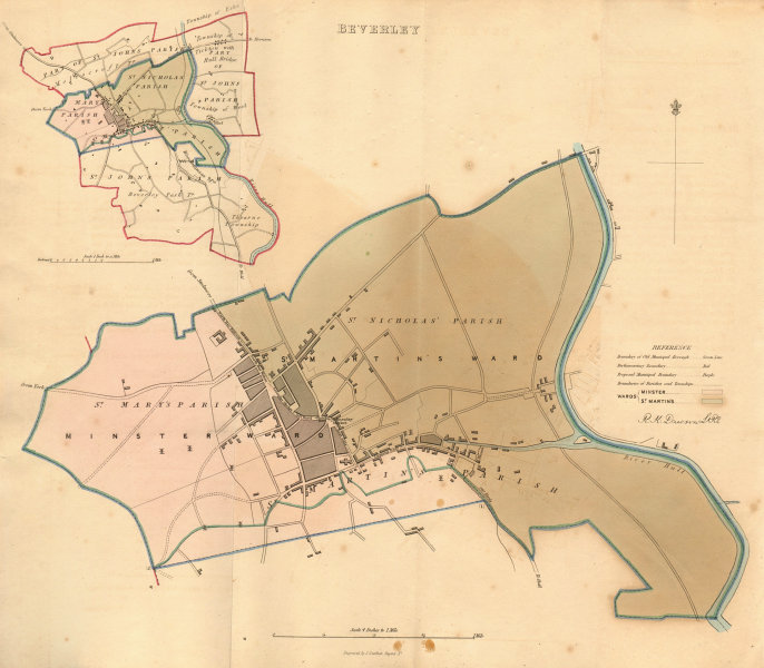 Associate Product BEVERLEY borough/town plan. BOUNDARY REVIEW. Yorkshire. DAWSON 1837 old map