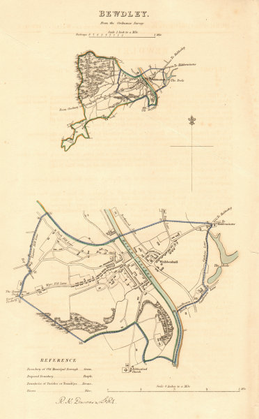 Associate Product BEWDLEY borough/town plan. BOUNDARY REVIEW. Worcestershire. DAWSON 1837 map