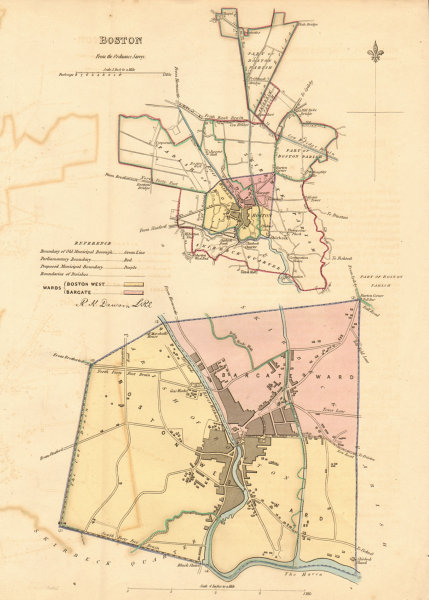 Associate Product BOSTON borough/town plan. BOUNDARY REVIEW. Lincolnshire. DAWSON 1837 old map