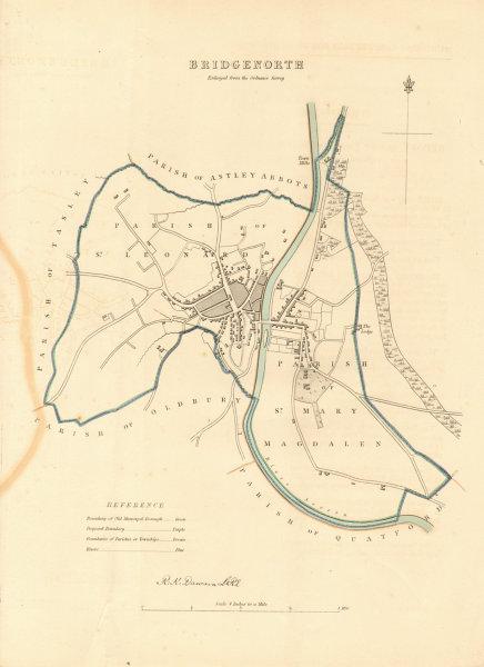 Associate Product BRIDGNORTH borough/town plan. BOUNDARY REVIEW. Shropshire. DAWSON 1837 old map