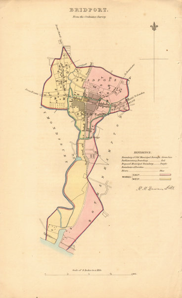 Associate Product BRIDPORT borough/town plan. BOUNDARY REVIEW. Dorset. DAWSON 1837 old map
