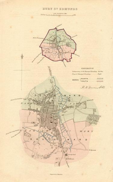 Associate Product BURY ST EDMUNDS borough/town plan. BOUNDARY REVIEW. Suffolk. DAWSON 1837 map