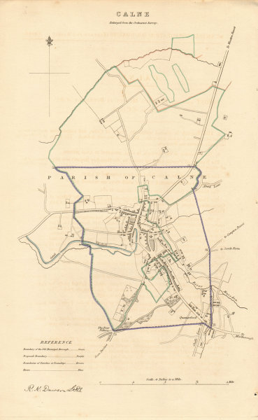 CALNE borough/town plan. BOUNDARY REVIEW. Wiltshire. DAWSON 1837 old map