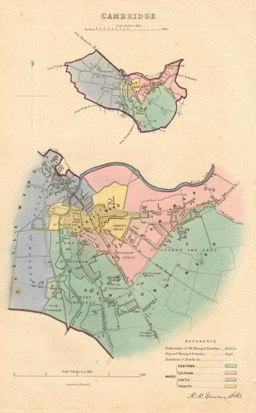 Associate Product CAMBRIDGE borough/town plan. BOUNDARY REVIEW. Cambridgeshire. DAWSON 1837 map