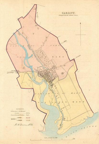 Associate Product CARDIFF borough/town plan. BOUNDARY REVIEW. Wales. DAWSON 1837 old antique map