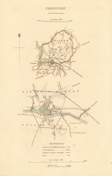 Associate Product CARDIGAN borough/town plan. BOUNDARY REVIEW. Wales. DAWSON 1837 old map