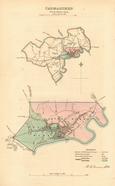 Associate Product CARMARTHEN borough/town plan. BOUNDARY REVIEW. Wales. DAWSON 1837 old map