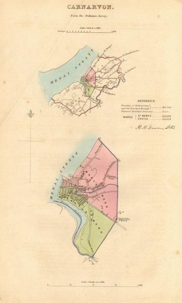 CARNARVON/CAERNARFON borough/town plan. BOUNDARY REVIEW. Wales. DAWSON 1837 map