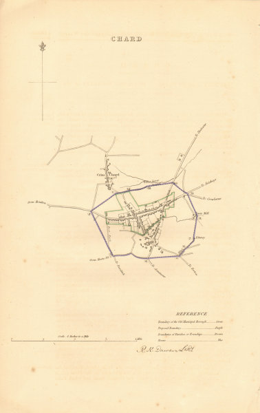 Associate Product CHARD borough/town plan. BOUNDARY REVIEW. Somerset. DAWSON 1837 old map