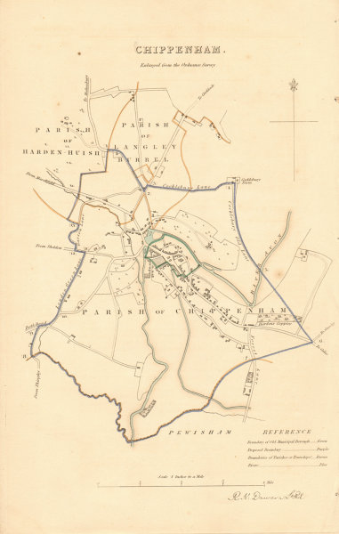 Associate Product CHIPPENHAM borough/town plan. BOUNDARY REVIEW. Wiltshire. DAWSON 1837 old map