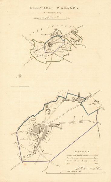 Associate Product CHIPPING NORTON borough/town plan. BOUNDARY REVIEW. Oxfordshire. DAWSON 1837 map