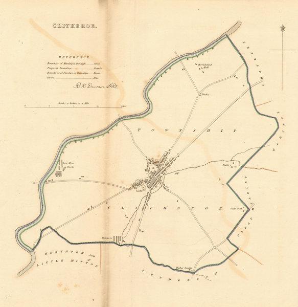 CLITHEROE town/borough plan. BOUNDARY REVIEW. Lancashire. DAWSON 1837 old map