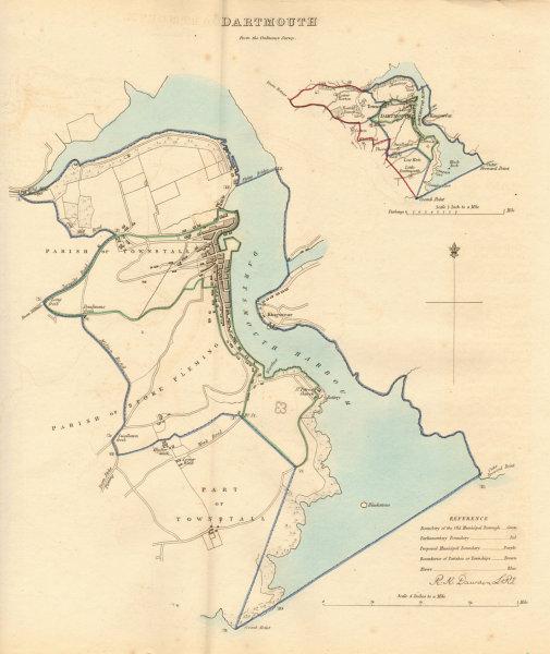 Associate Product DARTMOUTH borough/town plan. BOUNDARY REVIEW. Devon. DAWSON 1837 old map