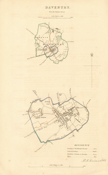 Associate Product DAVENTRY borough/town plan. BOUNDARY REVIEW. Northamptonshire. DAWSON 1837 map