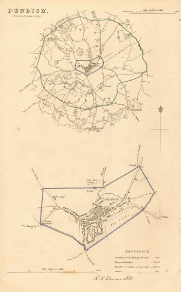 Associate Product DENBIGH borough/town plan. BOUNDARY REVIEW. Wales. DAWSON 1837 old antique map
