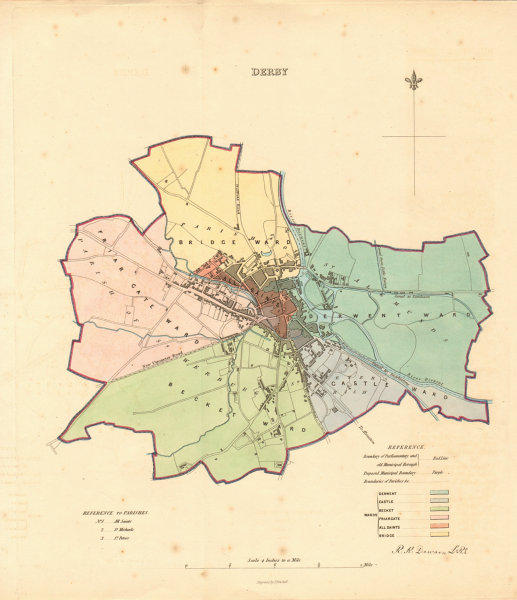 Associate Product DERBY borough/town plan. BOUNDARY REVIEW. Derbyshire. DAWSON 1837 old map