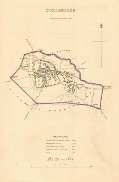 Associate Product DORCHESTER borough/town plan. BOUNDARY REVIEW. Dorset. DAWSON 1837 old map