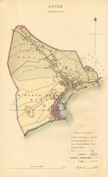 Associate Product DOVER borough/town plan. BOUNDARY REVIEW. Kent. DAWSON 1837 old antique map
