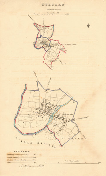 Associate Product EVESHAM borough/town plan. BOUNDARY REVIEW. Worcestershire. DAWSON 1837 map