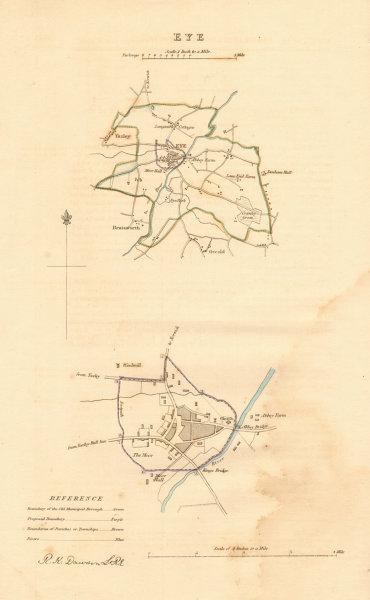 EYE borough/town plan. BOUNDARY REVIEW. Yaxley Occold. Suffolk. DAWSON 1837 map