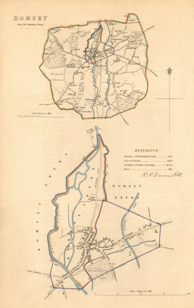 ROMSEY borough/town plan. BOUNDARY REVIEW. Hampshire. DAWSON 1837 old map