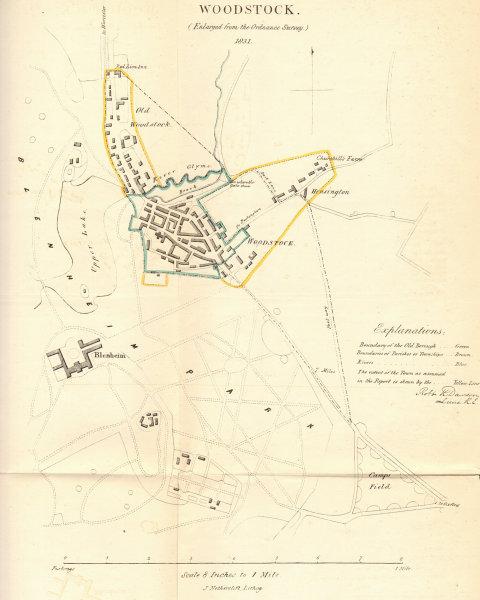 Associate Product WOODSTOCK borough/town plan. REFORM ACT. Blenheim. Oxfordshire. DAWSON 1832 map