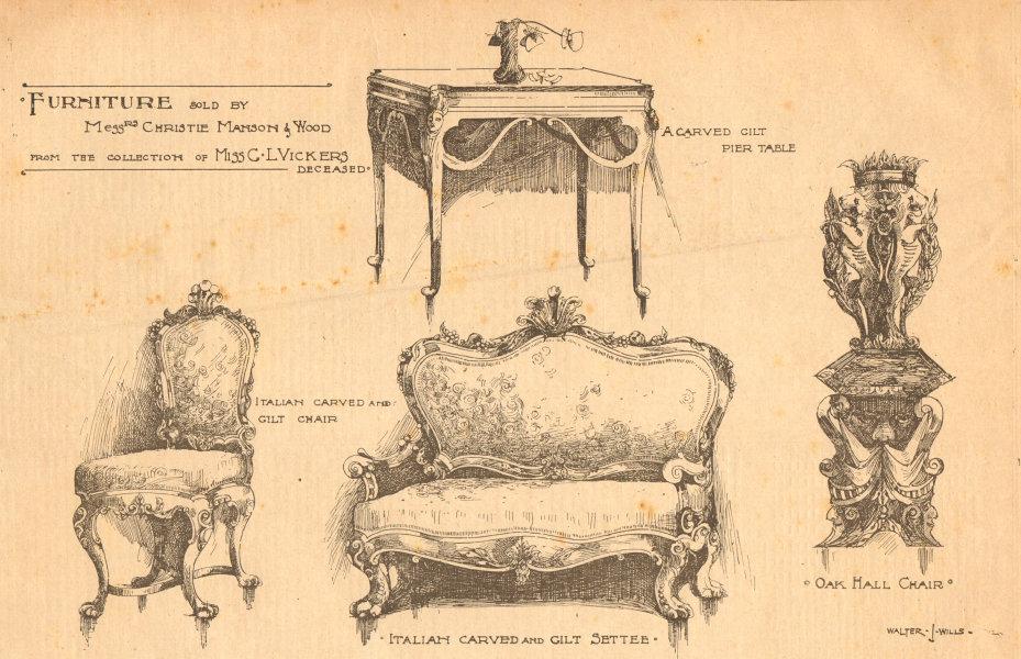 Associate Product Christie Manson Wood furniture auction gilt pier table Italian chair settee 1898