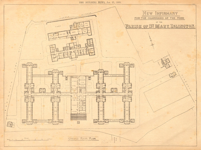 Associate Product Infirmary for the Guardians of the Poor, Parish of St Mary, Islington. Plan 1899
