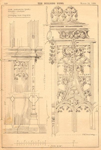 Associate Product Oak Screen in York Minster details, J. Douglas Trail: May 1898. Yorkshire 1899