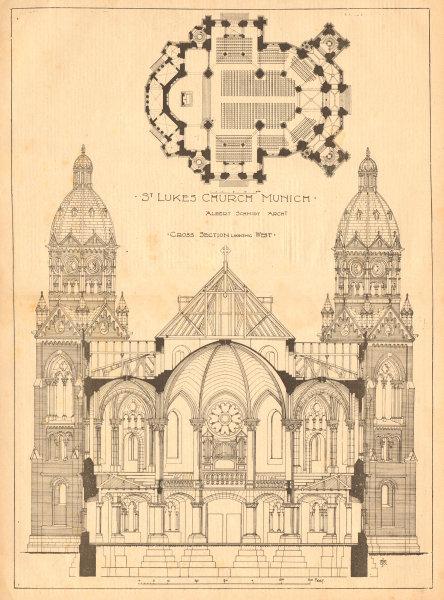 Associate Product St Luke's Church Munich, Albert Schmidt Archt. Lukaskirche. Cross section 1899
