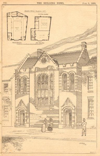 Associate Product Mission House, Dalston. London 1899 old antique vintage print picture