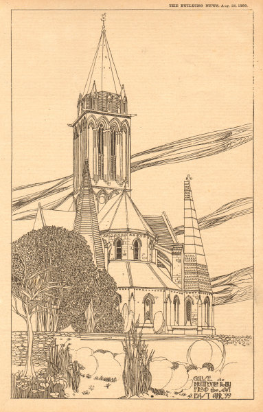 Associate Product Eglise de Bretteville, Norrey, from the south east Apr 99. Calvados 1899 print