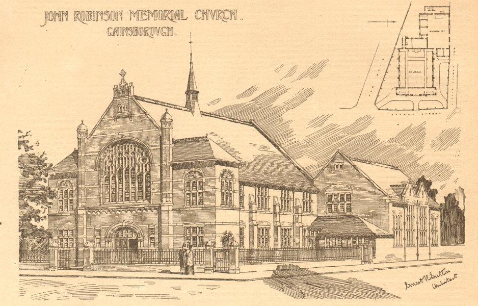 Associate Product John Robinson memorial church, Gainsborough. Lincolnshire 1899 old print