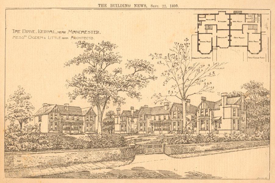 Associate Product The Drive, Kersal near Manchester, Ogden & Little ARIBA Architects 1899 print