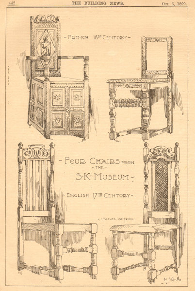 Associate Product Victoria & Albert Museum furniture. 16-17th century English French chairs 1899