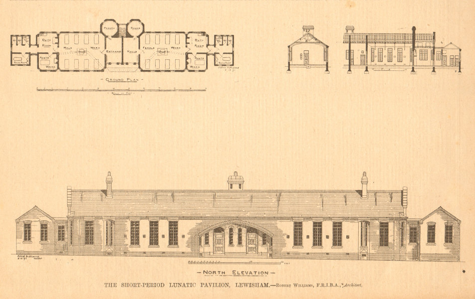 Associate Product Short-Period Lunatic Pavilion, Lewisham. Robert Williams, Architect. Plan 1899