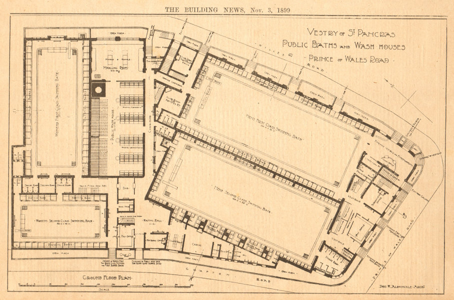 Associate Product Vestry of St Pancras, Public Baths & Wash houses. Prince of Wales Road (2) 1899