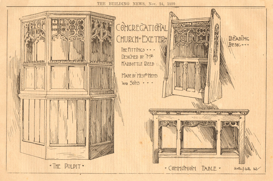 Associate Product Congregational Church Exeter fittings Harbottle Reed Hems Desk pulpit table 1899
