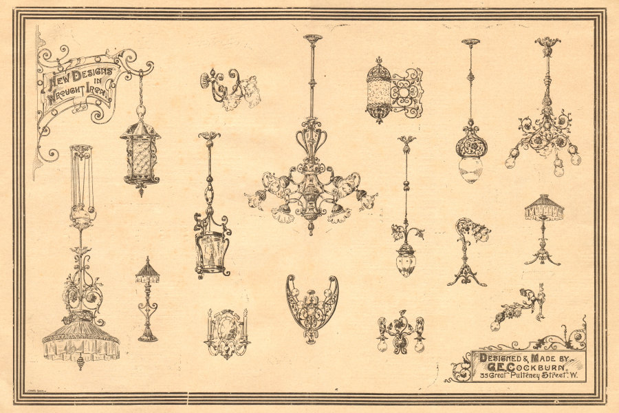 Associate Product Wrought Iron designs by G.E. Cockburn, 33 Great Pulteney Street, London 1900