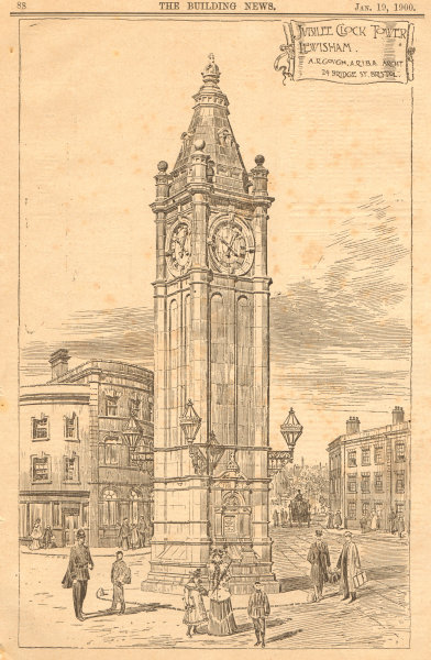 Jubilee Clock Tower, Lewisham. By A.R. Gough, ARIBA Archt, Bristol 1900 print