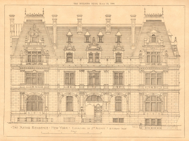 Associate Product The Astor residence, New York, Elevation to 5th Avenue, R.M. Hunt, Archt 1900