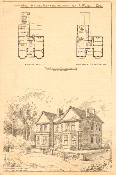 Associate Product New House, Norton, Malton for J. Fagan. Chorley & Connon Archt. Yorkshire 1900