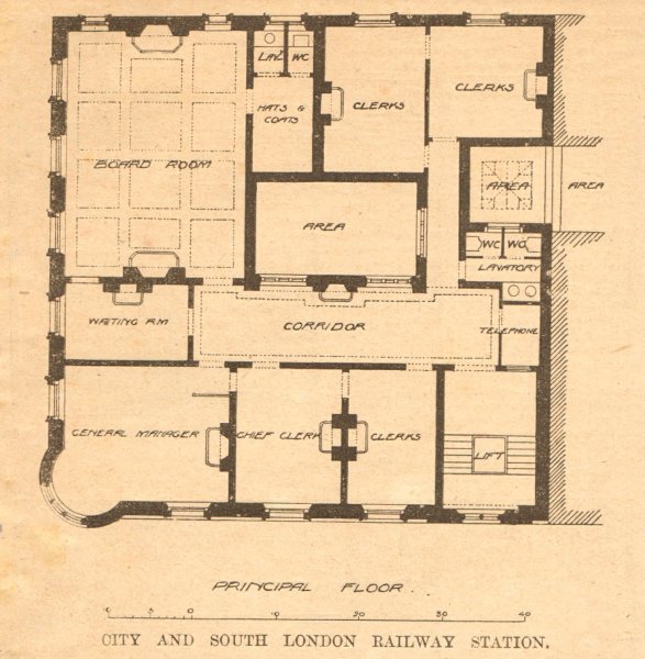 Associate Product City & South London Railway Station. Moorgate. Principal floor plan 1900 print