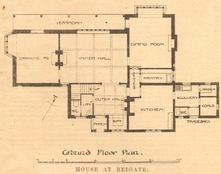 Associate Product House, Croydon Road, Reigate. Ground floor plan. Surrey 1900 old antique print