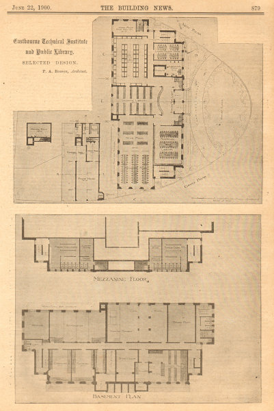 Associate Product Eastbourne Technical Institute & Public Library. PA Robson Architect Plan 2 1900