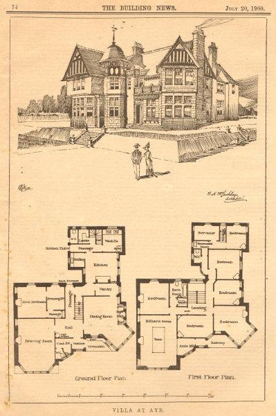 Associate Product Villa at Ayr. Ground floor & 1st floor plan. Scotland 1900 old antique print