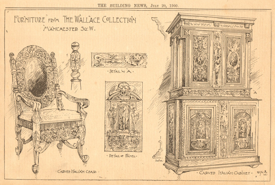 Associate Product Wallace Collection furniture. Carved Italian chair & cabinet 1900 old print