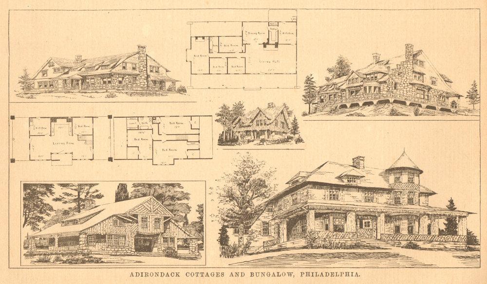 Associate Product Adirondack cottages & bungalow, Philadelphia. Plan. Pennsylvania 1900 print